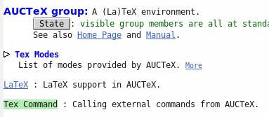 Wahl der Gruppe Tex Command
